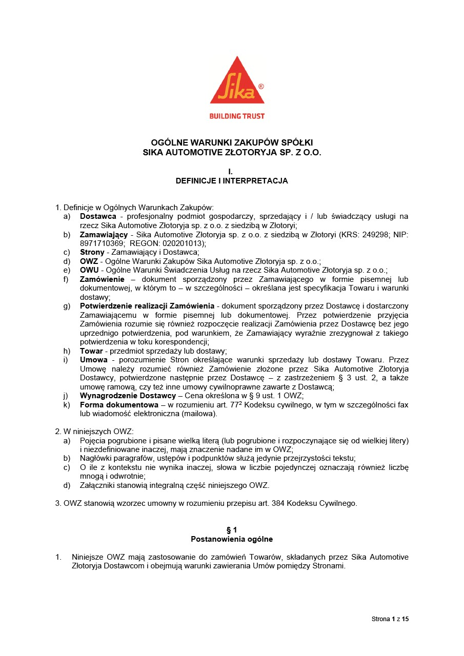 Terms and Conditions Sika Automotive Zlotoryja